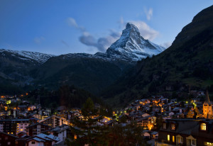 panarama of Zermatt and the Matterhorn at night