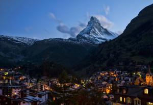 panarama of Zermatt and the Matterhorn at night
