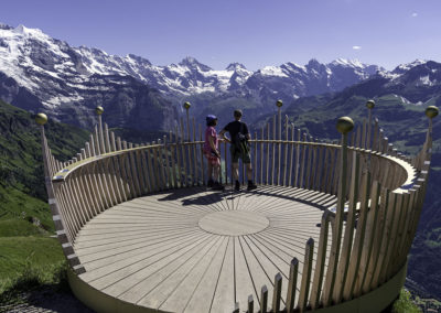 Vista from the Royal Trail above Mannlichen, view of the Bernese Alps