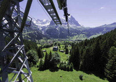 View of Grindelwald from the gondola to First, Bernese Oberland,