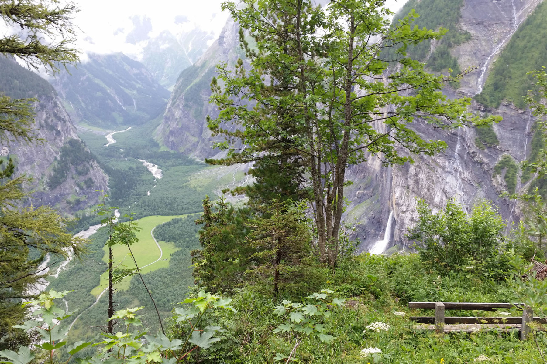 A bench overlooking the Gasterntal valley near Kandersteg