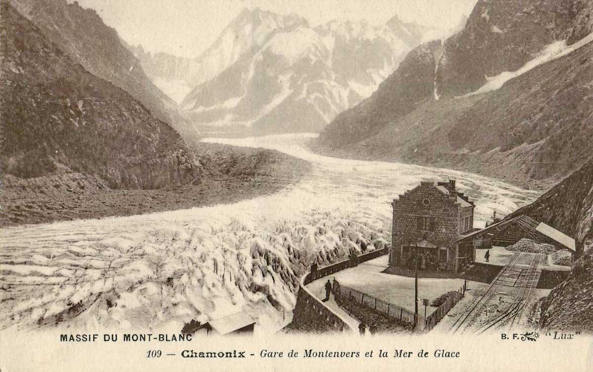 mer de glace historic postcard