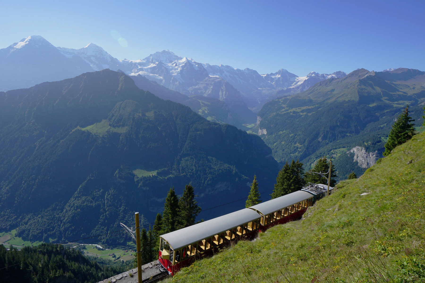 The Schynige Platte train approaching the upper station